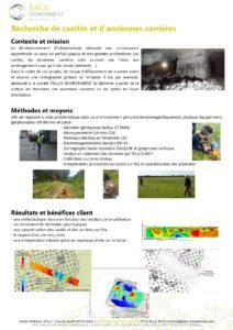 Etudes de cas, Tellus Environment, Geophysique Etude des sols, Recherche de cavités et d'anciennes carrières