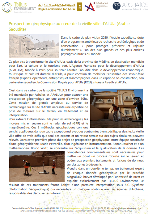 Prospection géophysique au cœur de la vieille ville d'Al'Ula (Arabie Saoudite)